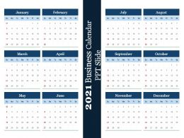 2021 Business Calendar Ppt Slide