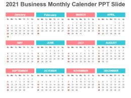 2021 Business Monthly Calender Ppt Slide