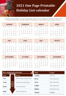 2021 One Page Printable Holiday List Calendar Presentation Report Infographic PPT PDF Document