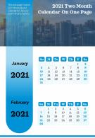2021 Two Month Calendar On One Page Presentation Report Infographic PPT PDF Document