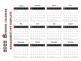 2022 Business Calendar Management Ppt Template