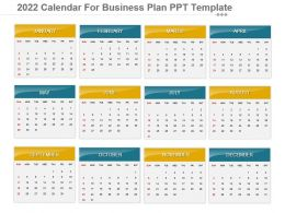 2022 Calendar For Business Plan Ppt Template