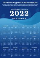 2022 One Page Printable Calendar Presentation Report Infographic PPT PDF Document