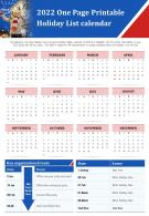 2022 One Page Printable Holiday List Calendar Presentation Report Infographic PPT PDF Document