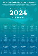 2024 One Page Printable Calendar Presentation Report Infographic PPT PDF Document