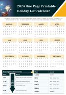 2024 One Page Printable Holiday List Calendar Presentation Report Infographic PPT PDF Document