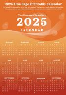 2025 One Page Printable Calendar Presentation Report Infographic PPT PDF Document