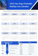 2025 One Page Printable Holiday List Calendar Presentation Report Infographic PPT PDF Document