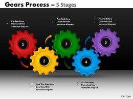 22 Gears Process 5 Stages Style 1 Powerpoint Slides And Ppt