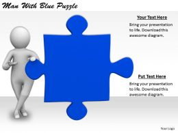 2413 Business Ppt Diagram Man With Blue Puzzle Powerpoint Template
