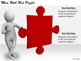 2413 Business Ppt Diagram Man With Red Puzzle Powerpoint Template