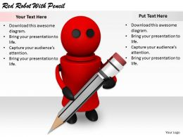 2413 Business Ppt Diagram Red Robot With Pencil Powerpoint Template