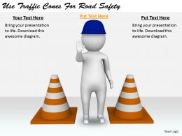 2413 Business Ppt Diagram Use Traffic Cones For Road Safety Powerpoint Template