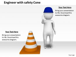 2413 Engineer With Safety Cone Ppt Graphics Icons Powerpoint