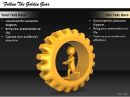 2413 Follow The Golden Gear Ppt Graphics Icons Powerpoint