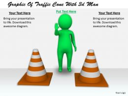 2413 Graphic Of Traffic Cone With 3d Man Ppt Graphics Icons Powerpoint