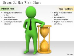 2413 Green 3d Man With Glass Ppt Graphics Icons Powerpoint