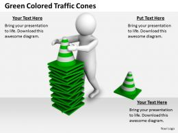 2413 Green Colored Traffic Cones Ppt Graphics Icons Powerpoint