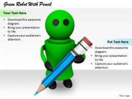 2413 Green Robot With Pencil Ppt Graphics Icons Powerpoint