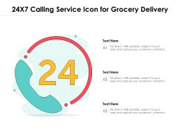 24x7 Calling Service Icon For Grocery Delivery