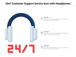 24x7 Customer Support Service Icon With Headphones