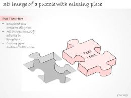 2502 Business Ppt Diagram 3d Image Of Puzzle With Missing Piece Powerpoint Template
