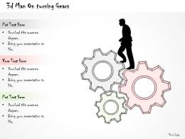 2502 Business Ppt Diagram 3d Man On Turning Gears Powerpoint Template