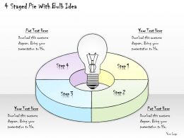 2502 Business Ppt Diagram 4 Staged Pie With Bulb Idea Powerpoint Template