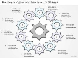 2502 Business Ppt Diagram Business Gears Mechanism 10 Staged Powerpoint Template