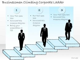 2502 Business Ppt Diagram Businessmen Climbing Corporate Ladder Powerpoint Template