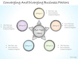 2502 Business Ppt Diagram Converging And Diverging Business Factors Powerpoint Template