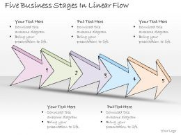 2502 Business Ppt Diagram Five Business Stages In Linear Flow Powerpoint Template