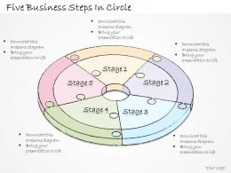 2502 Business Ppt Diagram Five Business Steps In Circle Powerpoint Template