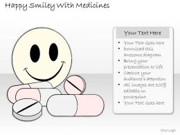 2502 Business Ppt Diagram Happy Smiley With Medicines Powerpoint Template