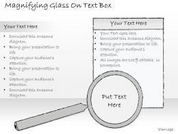2502 Business Ppt Diagram Magnifying Glass On Text Box Powerpoint Template