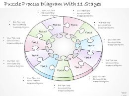 2502 Business Ppt Diagram Puzzle Process Diagram With 11 Stages Powerpoint Template