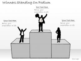 2502 Business Ppt Diagram Winners Standing On Podium Powerpoint Template