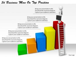 2513 3d Business Man On Top Position Ppt Graphics Icons Powerpoint
