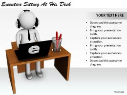 2513 3d Executive Sitting At His Desk Ppt Graphics Icons Powerpoint
