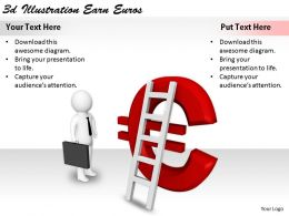 2513 3d Illustration Earn Euros Ppt Graphics Icons Powerpoint