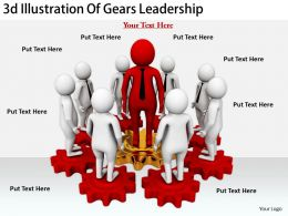 2513 3d Illustration Of Gears Leadership Ppt Graphics Icons Powerpoint