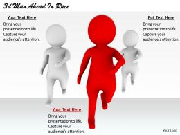2513 3d Man Ahead In Race Ppt Graphics Icons Powerpoint