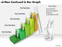 2513 3d Man Confused In Bar Graph Ppt Graphics Icons Powerpoint