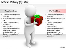 2513 3d Man Holding Gift Box Ppt Graphics Icons Powerpoint