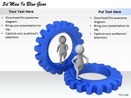 2513 3d Man In Blue Gear Ppt Graphics Icons Powerpoint