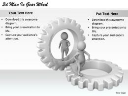 2513 3d Man In Gear Wheel Ppt Graphics Icons Powerpoint