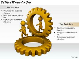2513 3d Man Moving On Gear Ppt Graphics Icons Powerpoint