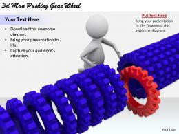 2513 3d Man Pushing Gear Wheel Ppt Graphics Icons Powerpoint
