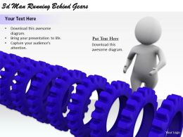 2513 3d Man Running Behind Gears Ppt Graphics Icons Powerpoint