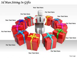 2513 3d Man Sitting In Gifts Ppt Graphics Icons Powerpoint